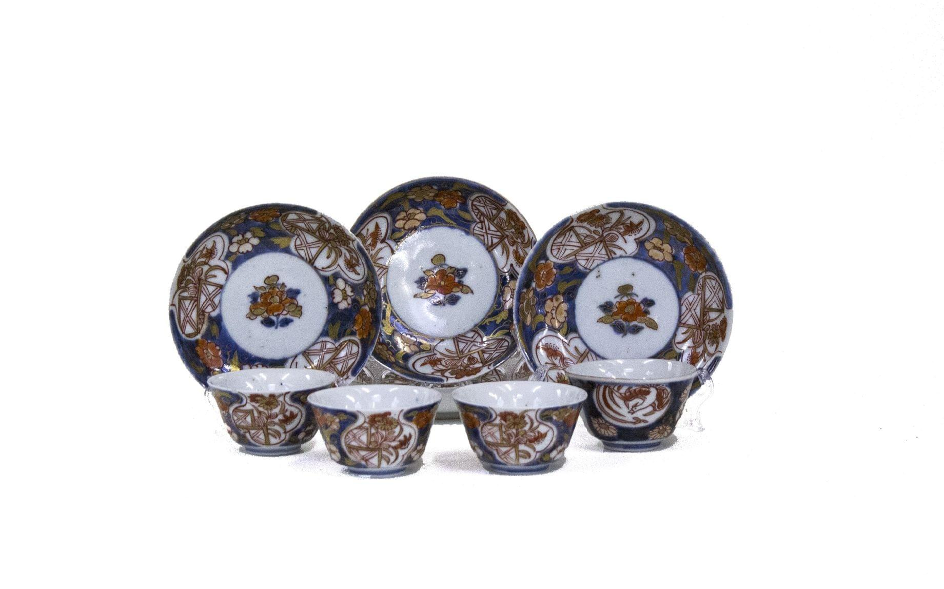 4 tasses et soucoupes, Imari, Chine, XVIIIe s